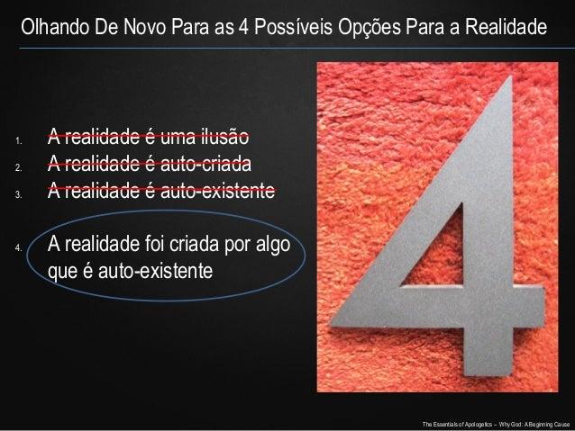 Olhando De Novo Para as 4 Possíveis Opções Para a Realidade  1. 2. 3.  4.  A realidade é uma ilusão A realidade é auto-cri...