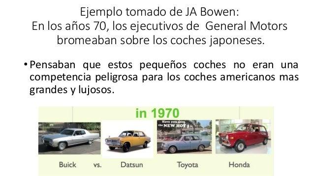 Ejemplo tomado de JA Bowen: En los años 70, los ejecutivos de General Motors bromeaban sobre los coches japoneses. •Pensab...