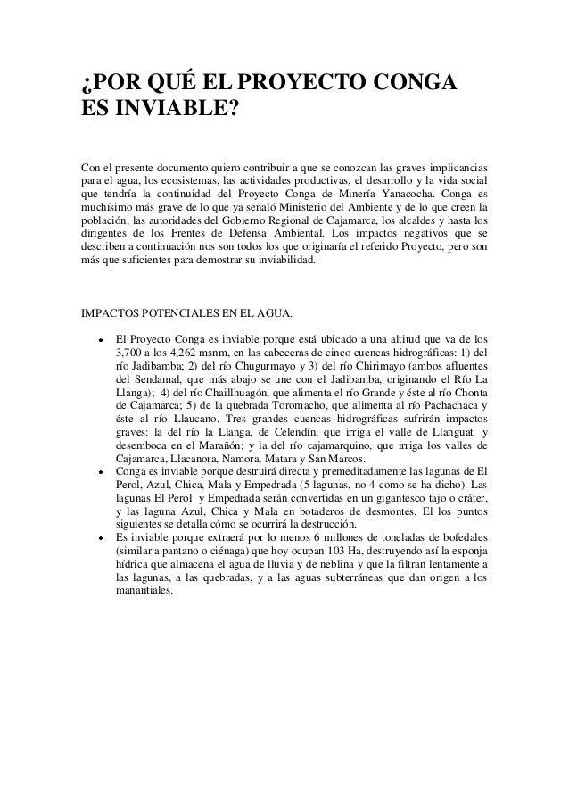 ¿POR QUÉ EL PROYECTO CONGAES INVIABLE?Con el presente documento quiero contribuir a que se conozcan las graves implicancia...