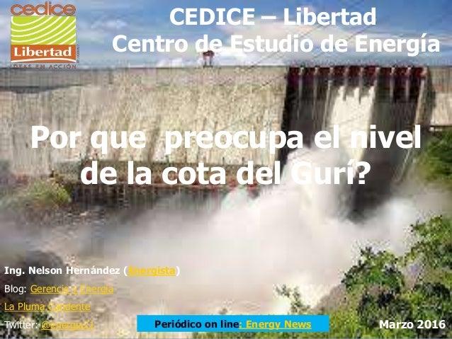 Por que preocupa el nivel de la cota del Gurí? Ing. Nelson Hernández (Energista) Blog: Gerencia y Energía La Pluma Candent...