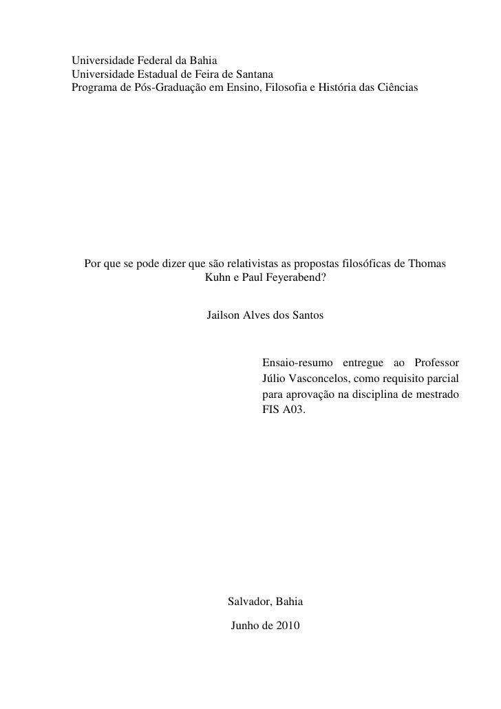 Universidade Federal da BahiaUniversidade Estadual de Feira de SantanaPrograma de Pós-Graduação em Ensino, Filosofia e His...