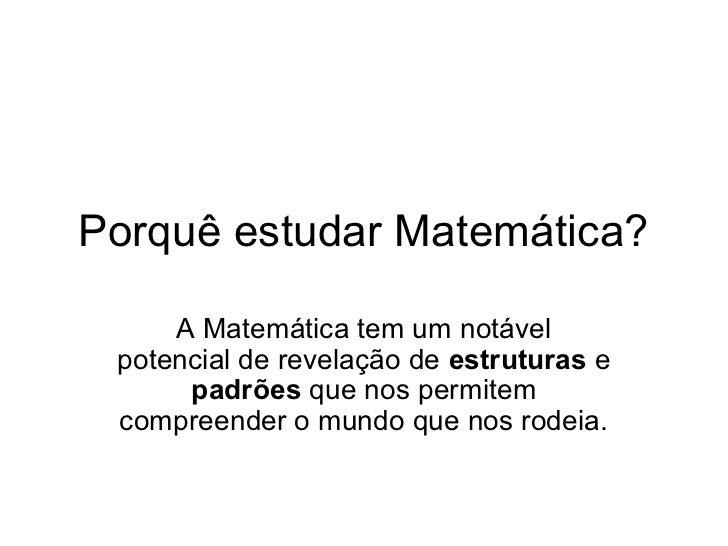 Por Quê? matematica