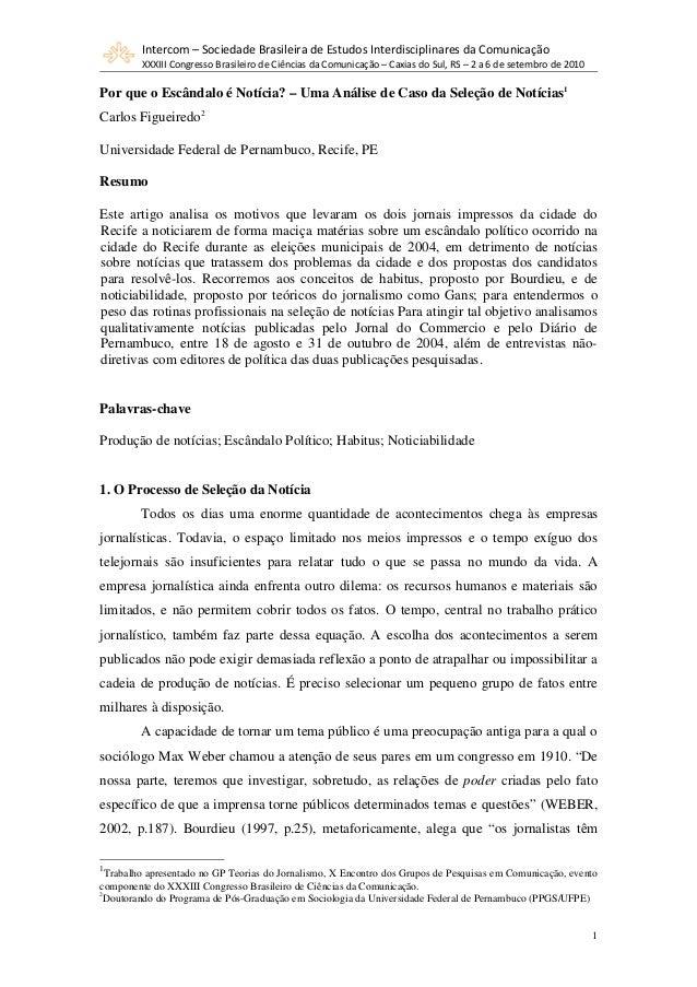 Intercom – Sociedade Brasileira de Estudos Interdisciplinares da Comunicação XXXIII Congresso Brasileiro de Ciências da Co...
