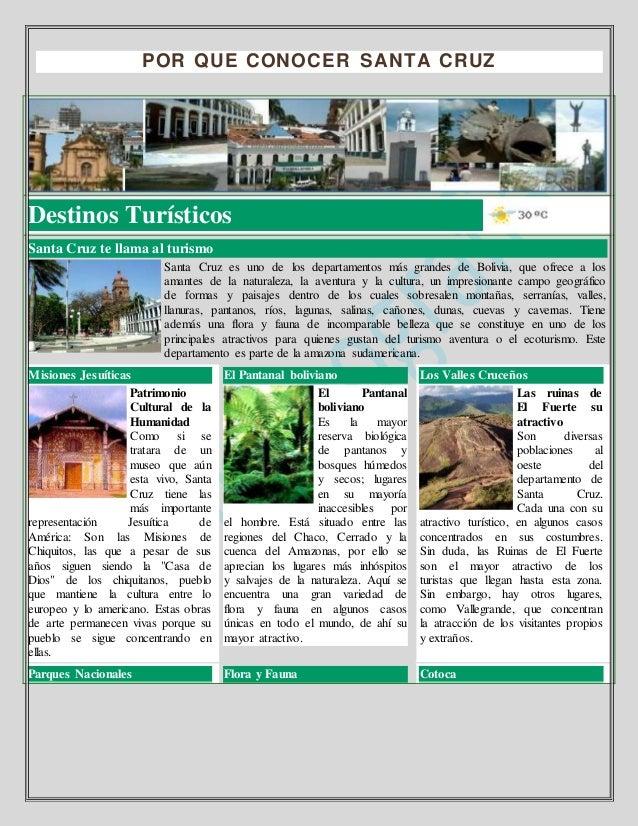 POR QUE CONOCER SANTA CRUZ Destinos Turísticos Santa Cruz te llama al turismo Santa Cruz es uno de los departamentos más g...