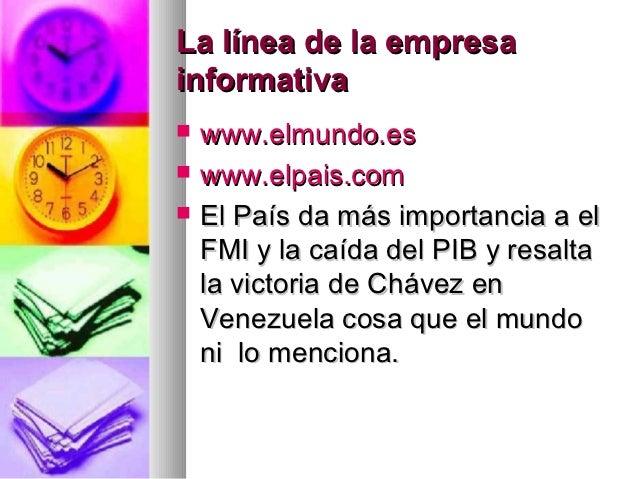 La línea de la empresainformativa   www.elmundo.es   www.elpais.com   El País da más importancia a el    FMI y la caída...