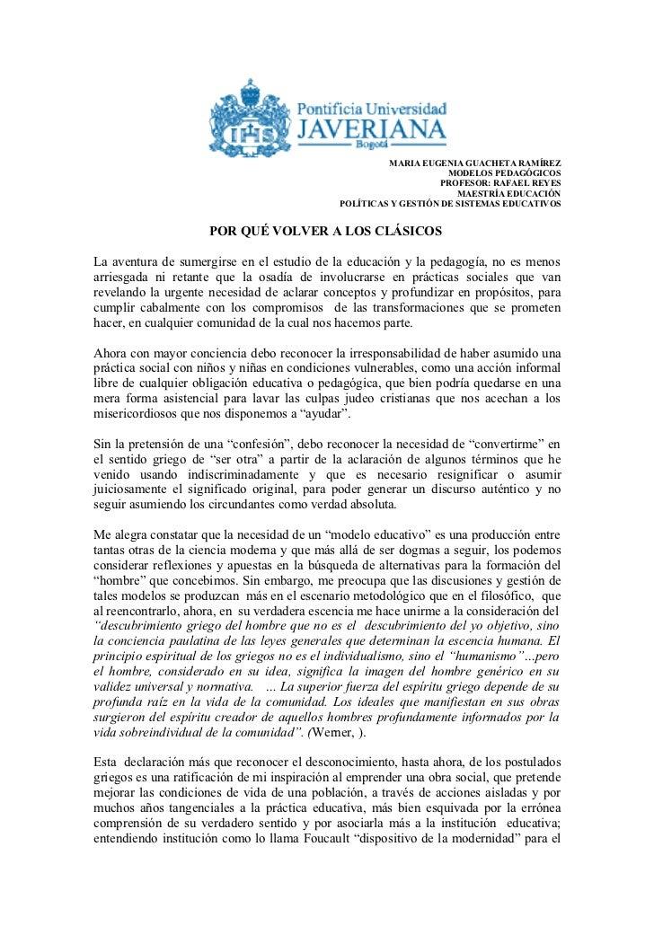 MARIA EUGENIA GUACHETA RAMÍREZ                                                                   MODELOS PEDAGÓGICOS      ...