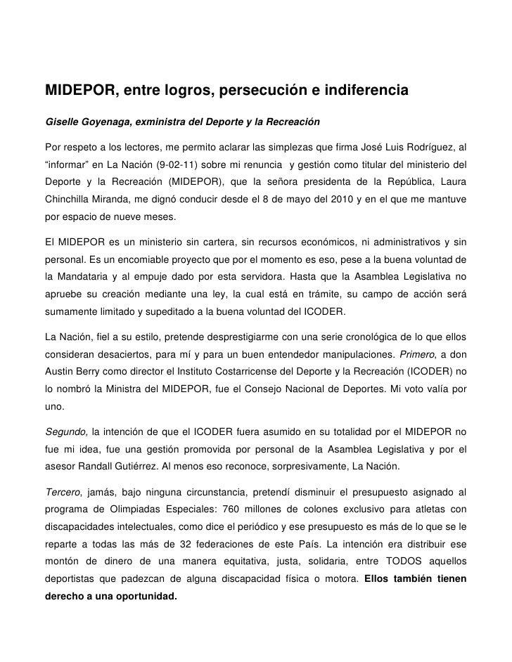 MIDEPOR, entre logros, persecución e indiferenciaGiselle Goyenaga, exministra del Deporte y la RecreaciónPor respeto a los...