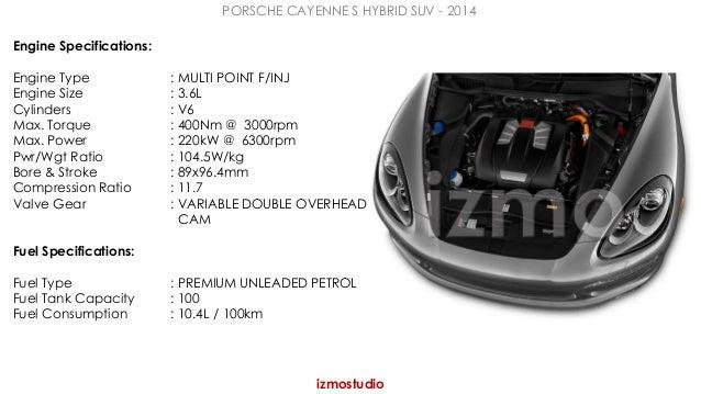 PORSCHE CAYENNE S HYBRID SUV - 2014  izmostudio  Engine Specifications:  Engine Type : MULTI POINT F/INJ  Engine Size : 3....
