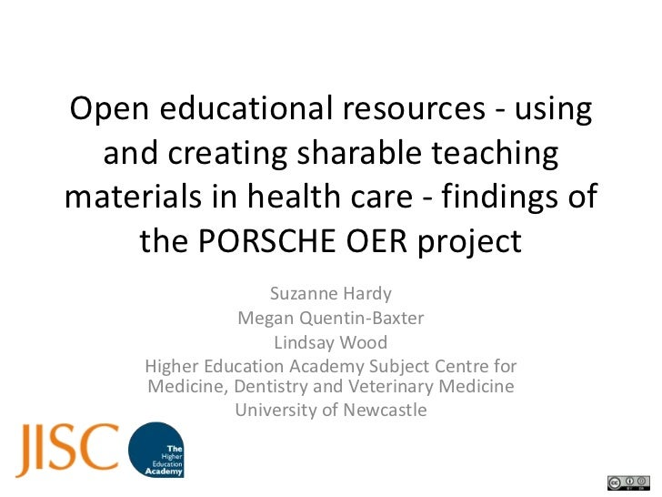 Open educational resources - using and creating sharable teaching materials in health care - findings of the PORSCHE OER p...