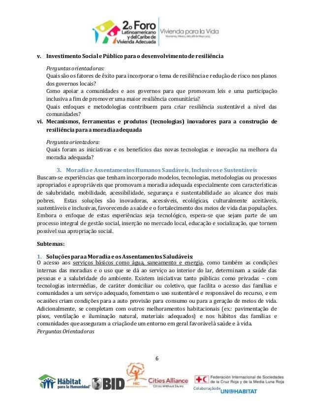 6 Colaboraçãode v. Investimento Social ePúblico parao desenvolvimento deresiliência Perguntasorientadoras: Quais são os fa...