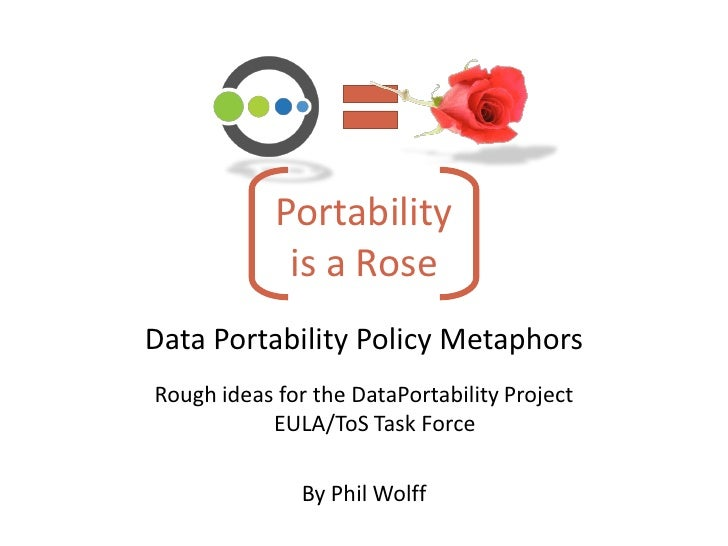 Portability              is a Rose Data Portability Policy Metaphors Rough ideas for the DataPortability Project          ...