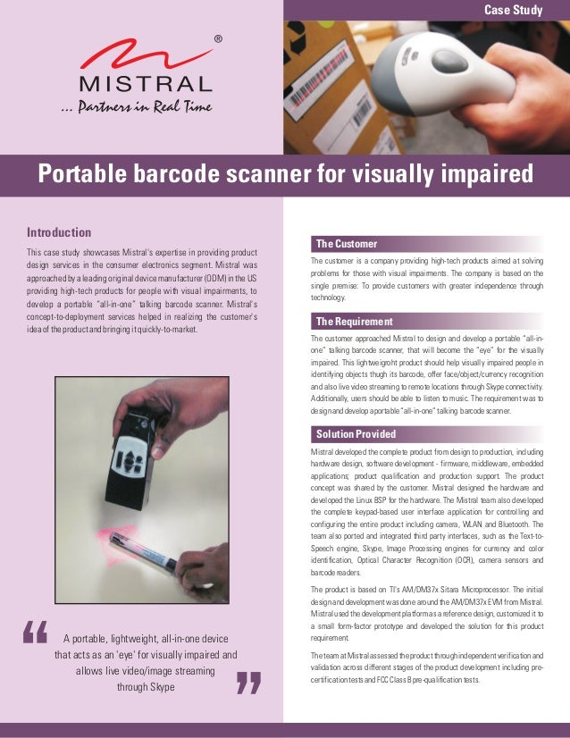 Case Study   Portable barcode scanner for visually impairedIntroduction                                                   ...