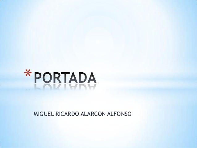 *    MIGUEL RICARDO ALARCON ALFONSO