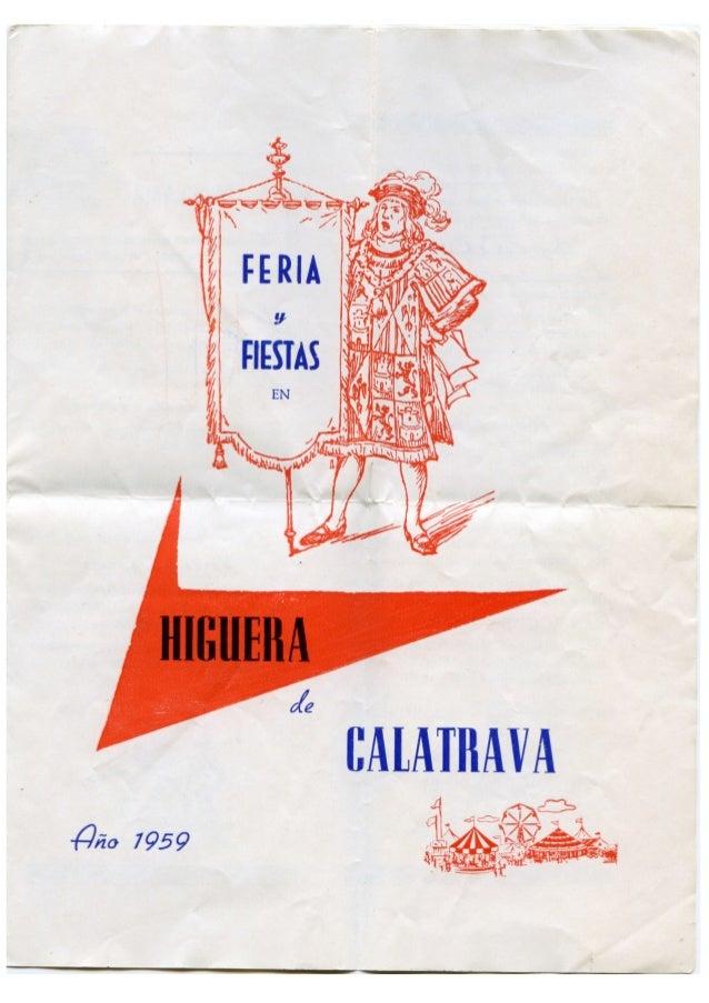 LIBRO FERIA Y FIESTAS HIGUERA DE CALATRAVA 1959