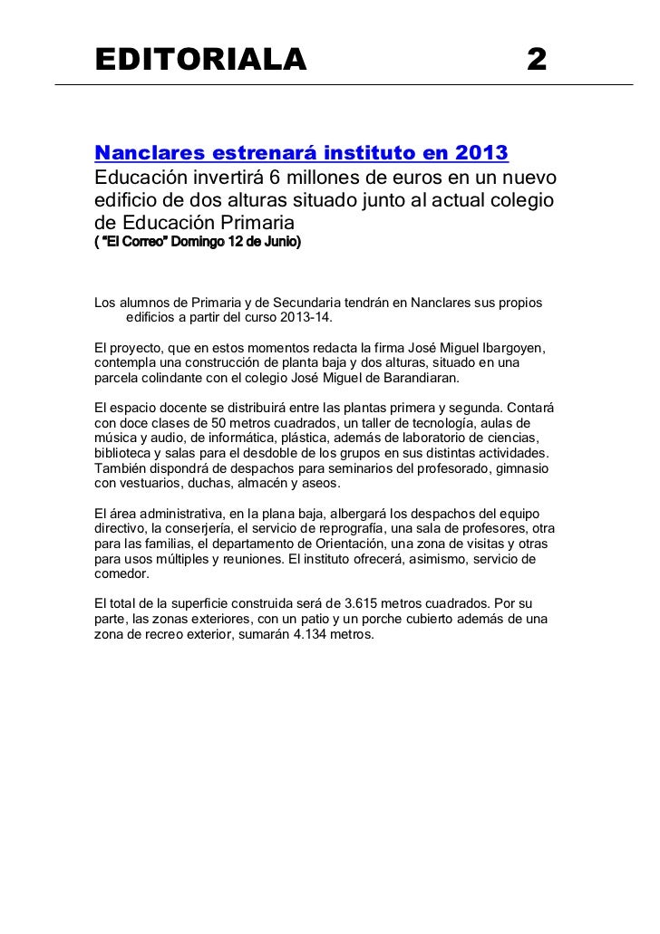 EDITORIALA                                                                   2Nanclares estrenará instituto en 2013Educaci...