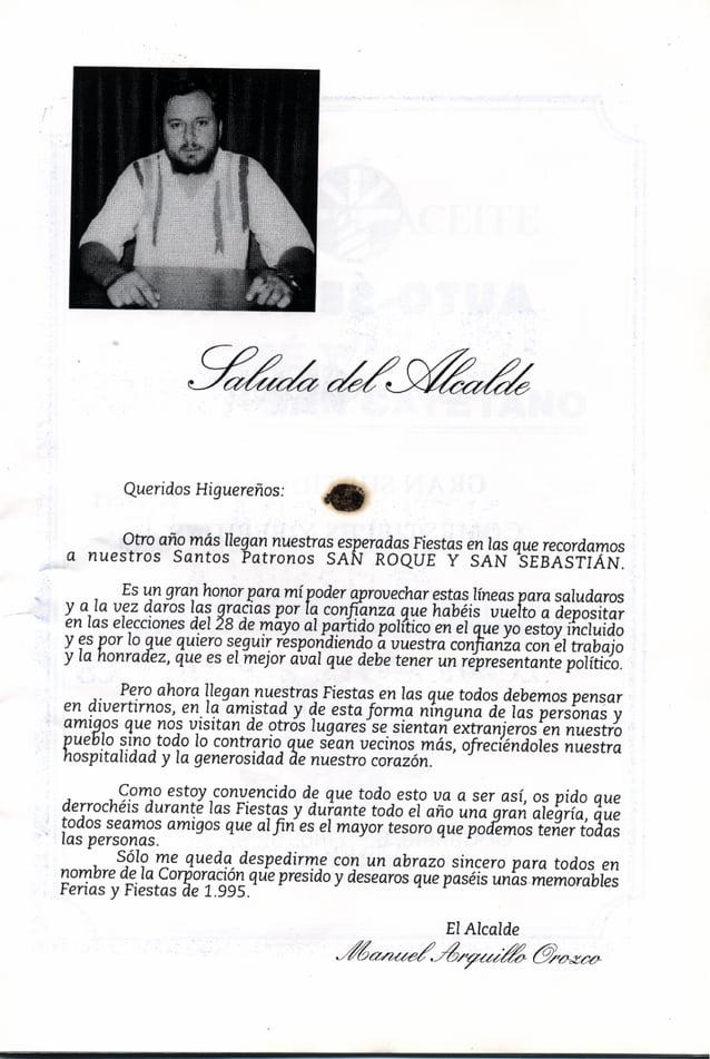LIBRO DE FERIA Y FIESTAS HIGUERA DE CALATRAVA 1995