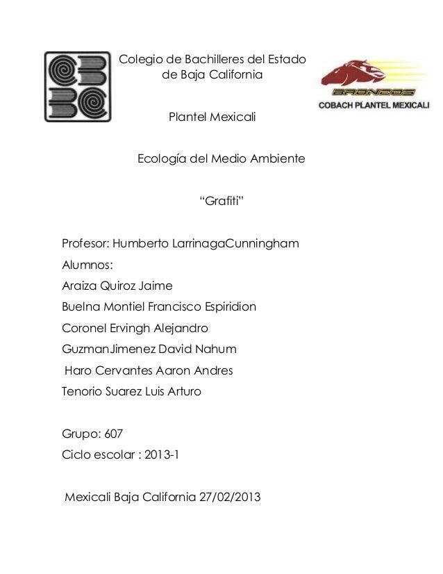Colegio de Bachilleres del Estado                  de Baja California                   Plantel Mexicali              Ecol...