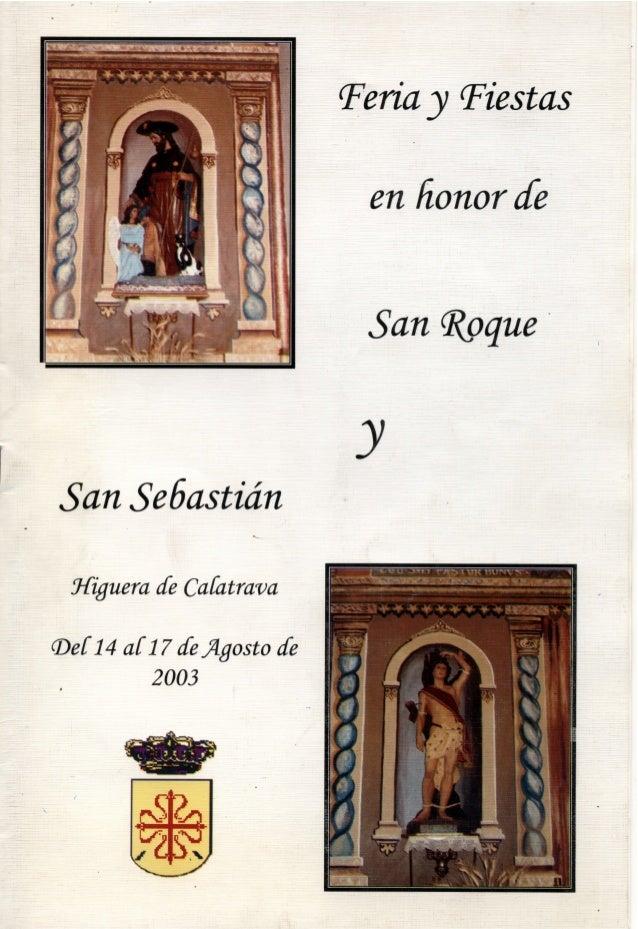 LIBRO DE FERIA Y FIESTAS HIGUERA DE CALATRAVA 2003