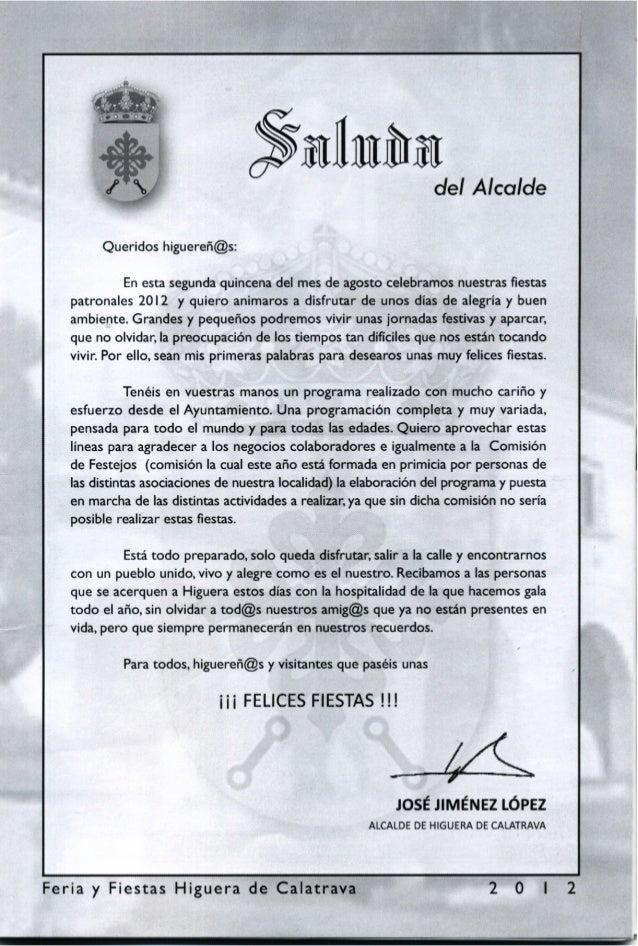 LIBRO DE FERIA Y FIESTAS DE HIGUERA DE CALATRAVA 2012 Slide 2