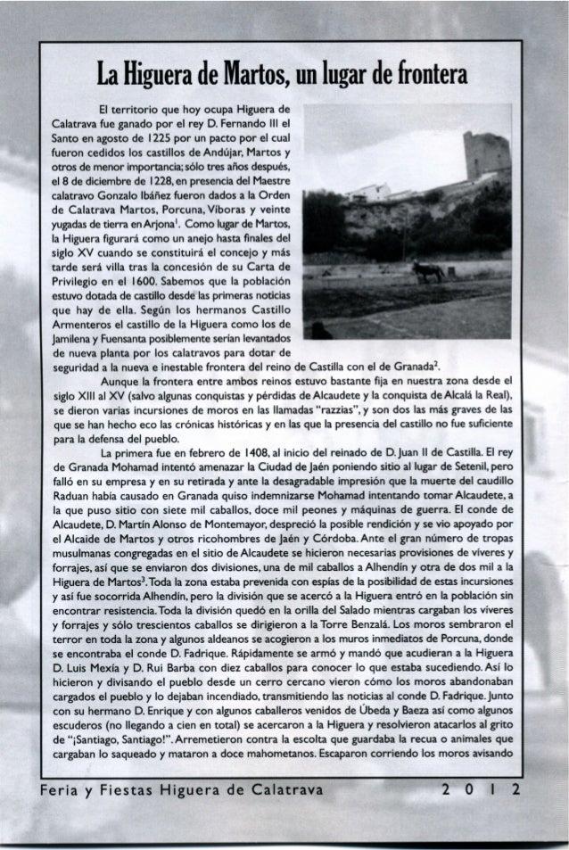 LIBRO DE FERIA Y FIESTAS DE HIGUERA DE CALATRAVA 2012 Slide 3