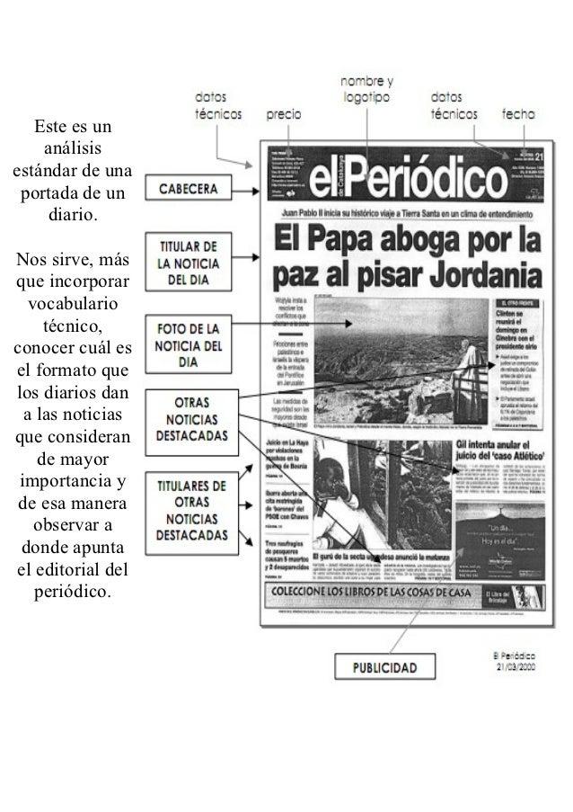 Portadas de diarios for Cuales son las partes de un periodico mural
