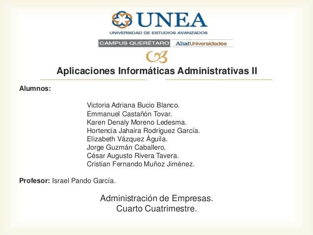  Administrativas II Aplicaciones Informáticas Alumnos: Victoria Adriana Bucio Blanco. Emmanuel Castañón Tovar. Karen Dena...