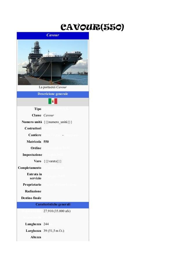 CAVOUR(550) Cavour La portaerei Cavour Descrizione generale Tipo Portaerei V/STOL Classe Cavour Numero unità {{{numero_uni...