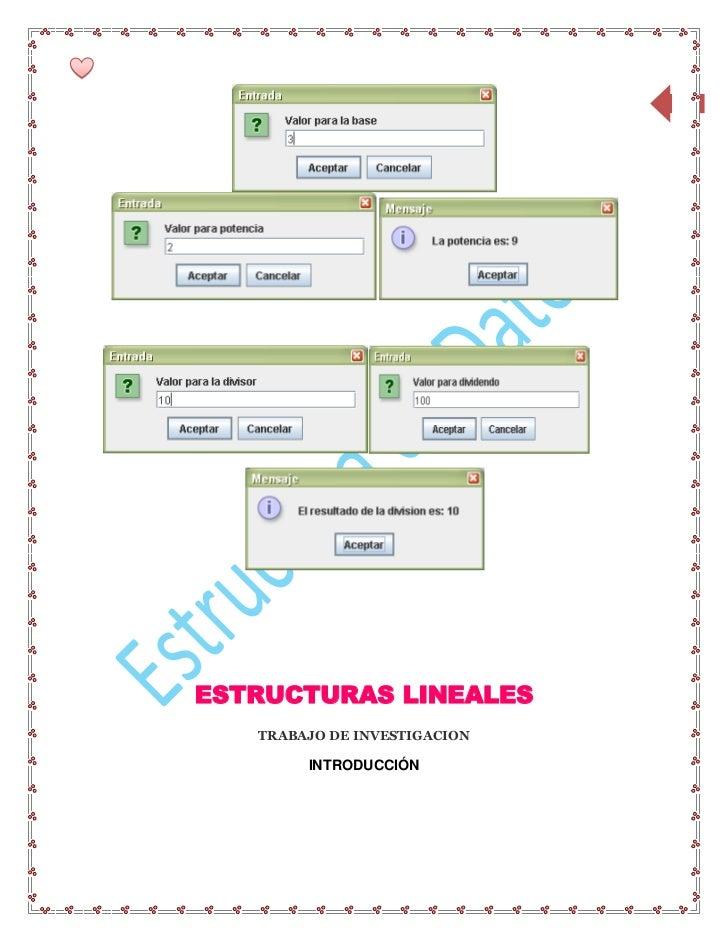 16ESTRUCTURAS LINEALES   TRABAJO DE INVESTIGACION        INTRODUCCIÓN