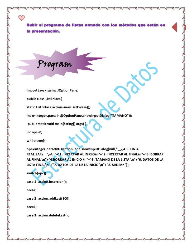 Subir el programa de listas armado con los métodos que están en                   25la presentación.         Program      ...