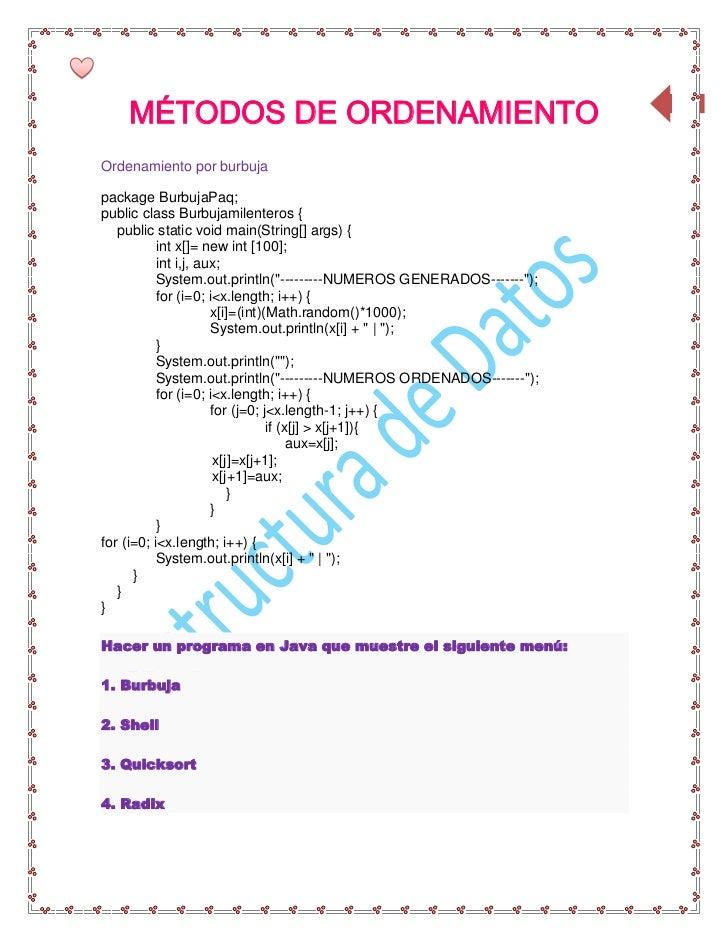 MÉTODOS DE ORDENAMIENTO                                                                      64Ordenamiento por burbujapac...