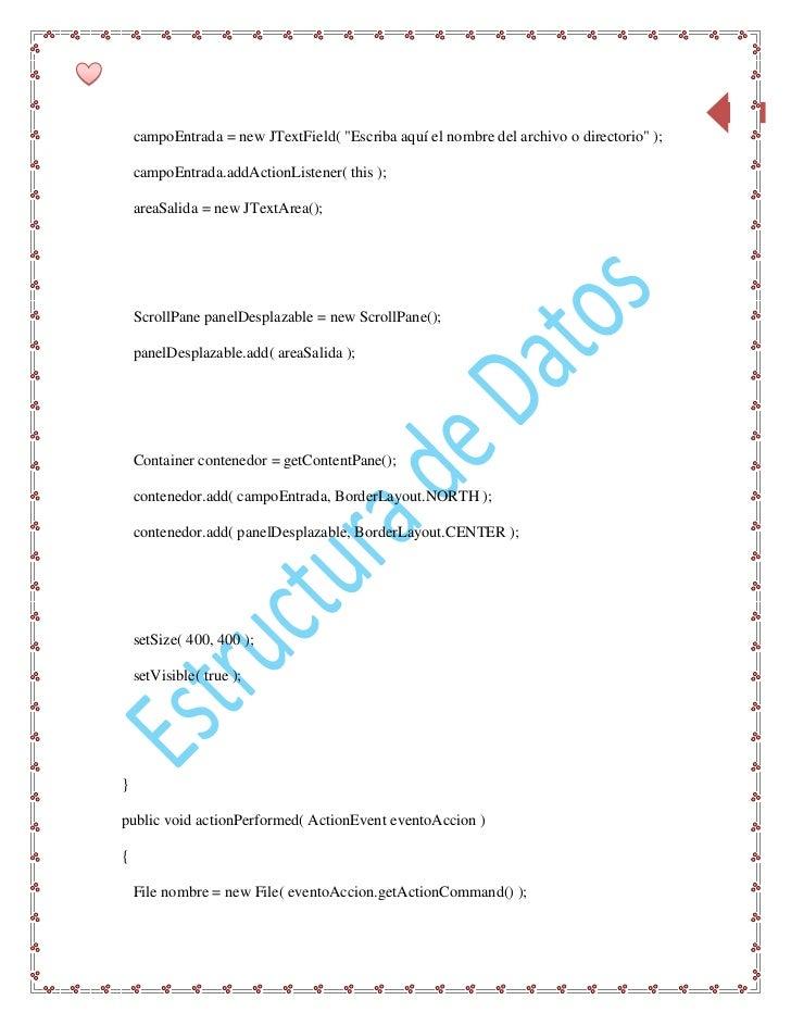 """70    campoEntrada = new JTextField( """"Escriba aquí el nombre del archivo o directorio"""" );    campoEntrada.addActionListene..."""