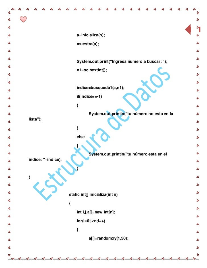 """78                         a=inicializa(n);                         muestra(a);                         System.out.print(""""..."""