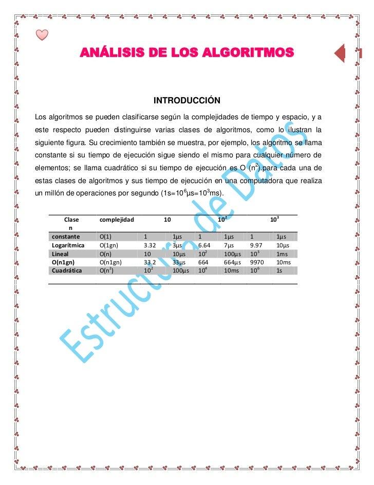 ANÁLISIS DE LOS ALGORITMOS                                                   81                                    INTRODU...