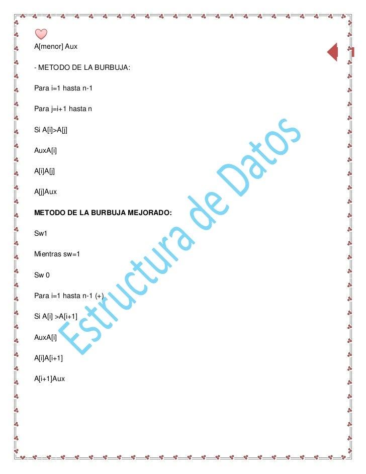 A[menor] Aux                                 89- METODO DE LA BURBUJA:Para i=1 hasta n-1Para j=i+1 hasta nSi A[i]>A[j]AuxA...