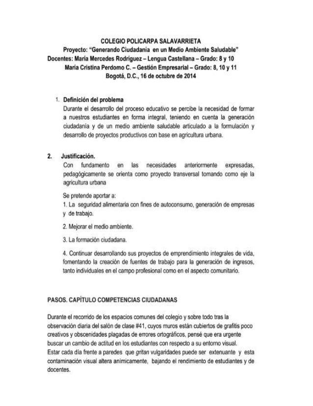 """COLEGIO POLICARPA SALAVARRIETA Proyecto:  """"Generando Ciudadania en un Medio Ambiente Saludable""""  Docentes:  Maria Mercedes..."""
