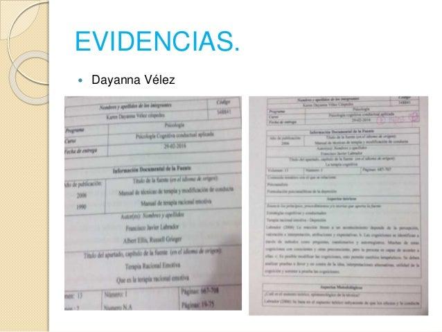EVIDENCIAS.  Dayanna Vélez