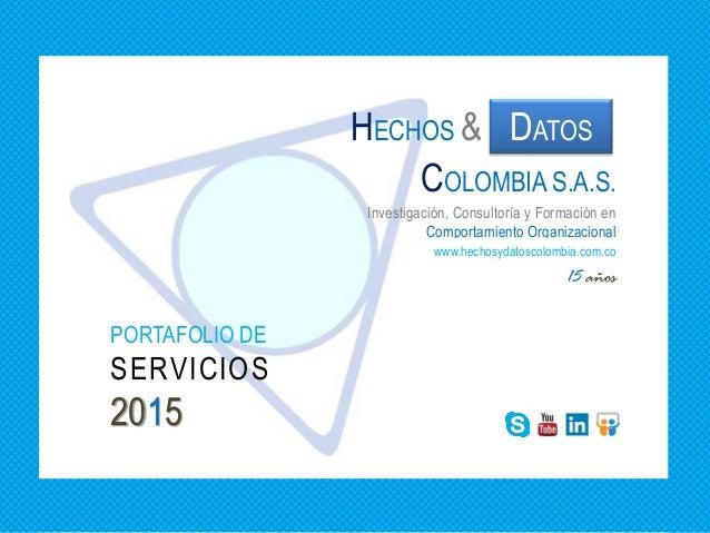 PORTAFOLIO DE SERVICIOS 2015 15 años Investigación, Consultoría y Formación en Comportamiento Organizacional DATOSHECHOS &...
