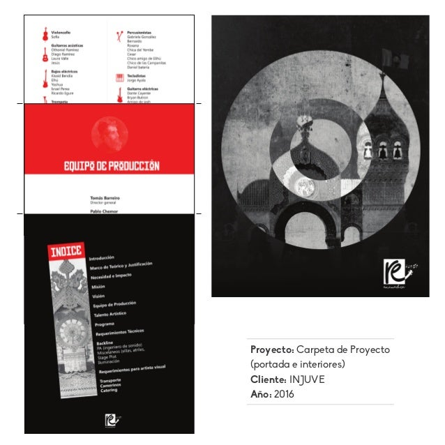 Proyecto: Carpeta de Proyecto (portada e interiores) Cliente: INJUVE Año: 2016