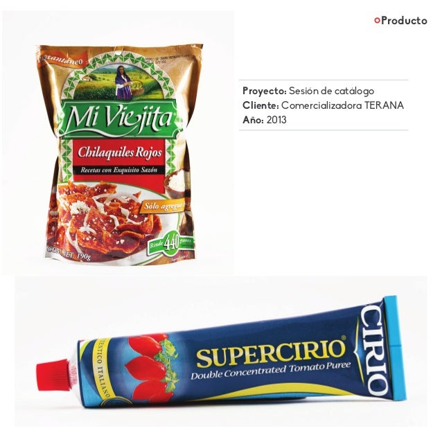 Producto Proyecto: Sesión de catálogo Cliente: Comercializadora TERANA Año: 2013