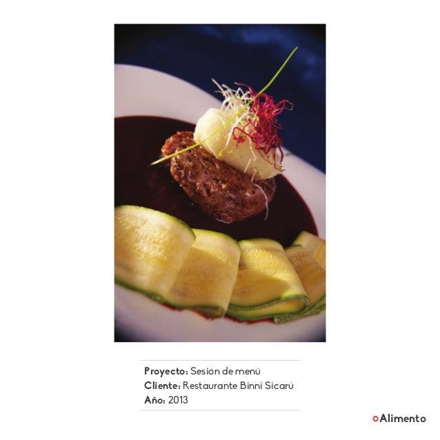 Proyecto: Sesión de menú Cliente: Restaurante Binni Sicarú Año: 2013 Alimento