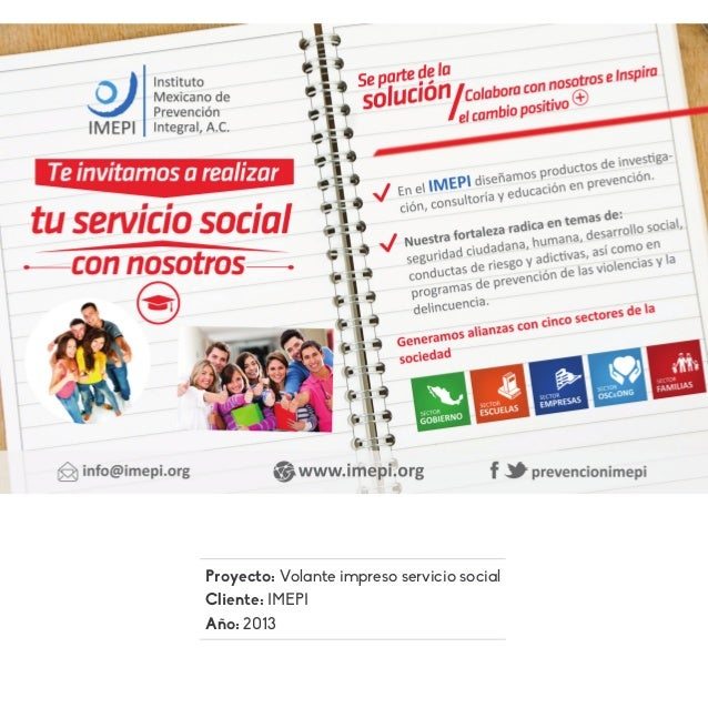 Proyecto: Volante impreso servicio social Cliente: IMEPI Año: 2013
