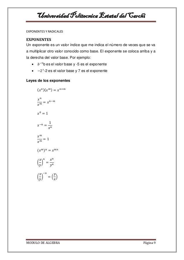 exponentes y radicales pdf