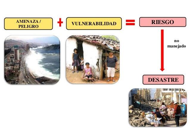 Resultado de imagen para riesgo desastre y vulnerabilidad