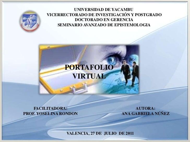 UNIVERSIDAD DE YACAMBU <br />VICERRECTORADO DE INVESTIGACIÓN Y POSTGRADODOCTORADO EN GERENCIA<br />SEMINARIO AVANZADO DE E...