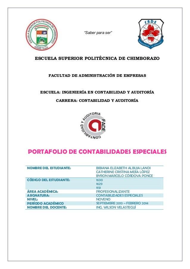 """""""Saber para ser""""  ESCUELA SUPERIOR POLITÉCNICA DE CHIMBORAZO  FACULTAD DE ADMINISTRACIÓN DE EMPRESAS  ESCUELA: INGENIERÍA ..."""