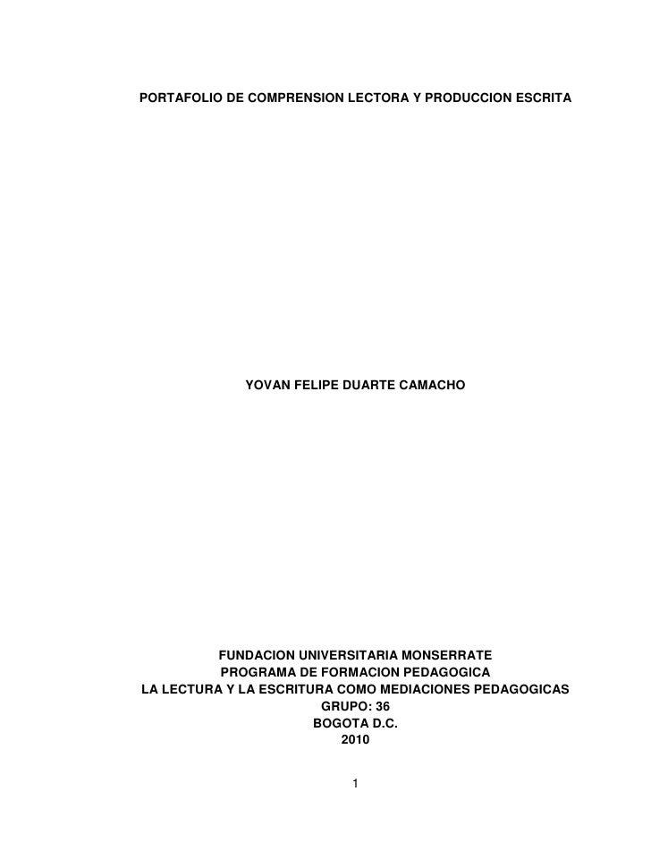 PORTAFOLIO DE COMPRENSION LECTORA Y PRODUCCION ESCRITA             YOVAN FELIPE DUARTE CAMACHO          FUNDACION UNIVERSI...