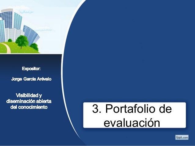 3. Portafolio de  evaluación