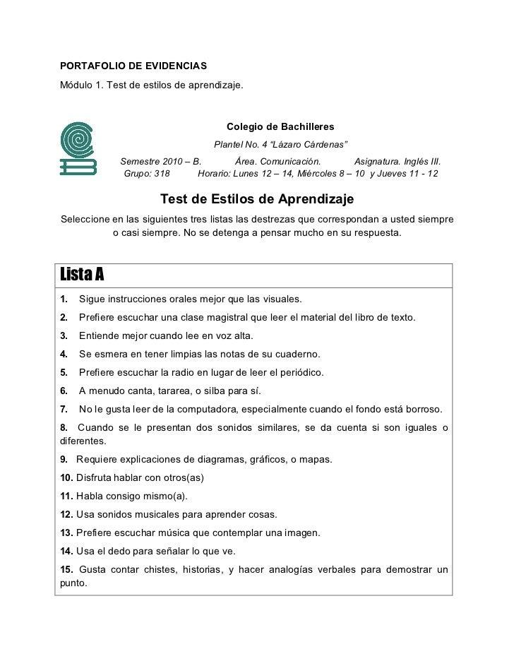 PORTAFOLIO DE EVIDENCIASMódulo 1. Test de estilos de aprendizaje.                                       Colegio de Bachill...