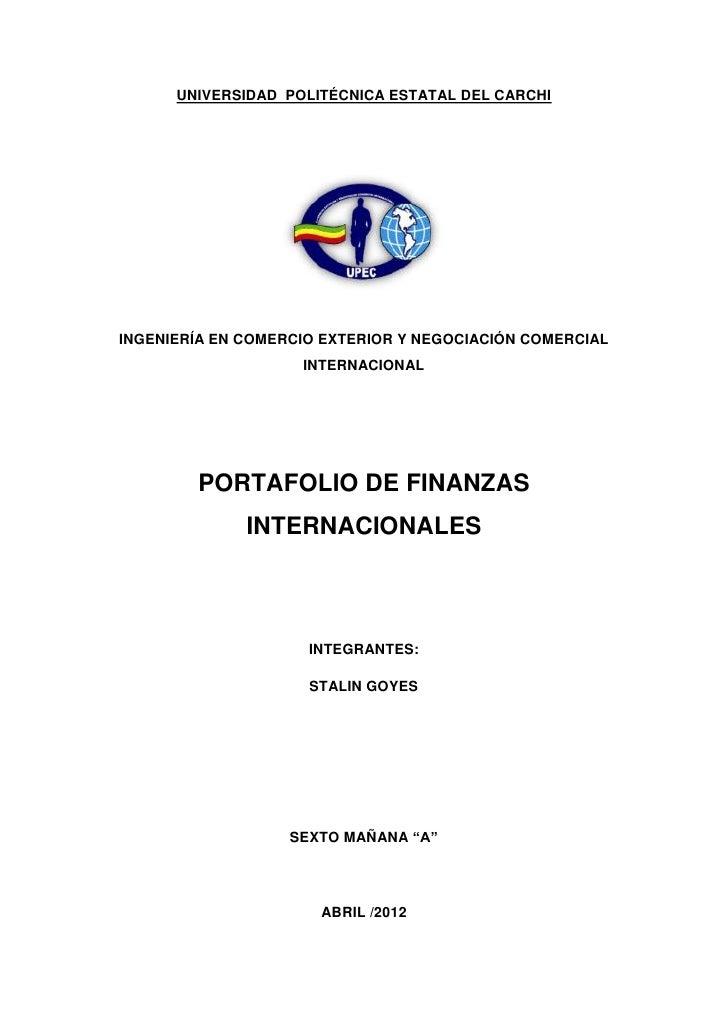 UNIVERSIDAD POLITÉCNICA ESTATAL DEL CARCHIINGENIERÍA EN COMERCIO EXTERIOR Y NEGOCIACIÓN COMERCIAL                    INTER...