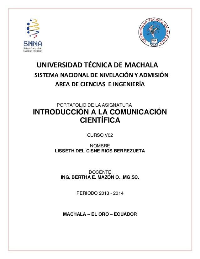 UNIVERSIDAD TÉCNICA DE MACHALA SISTEMA NACIONAL DE NIVELACIÓN Y ADMISIÓN AREA DE CIENCIAS E INGENIERÍA PORTAFOLIO DE LA AS...